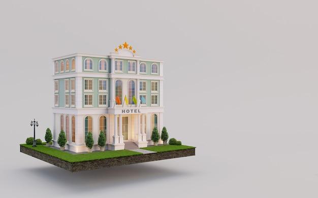 Hotel auf erden und rasengras im immobilienkonzept