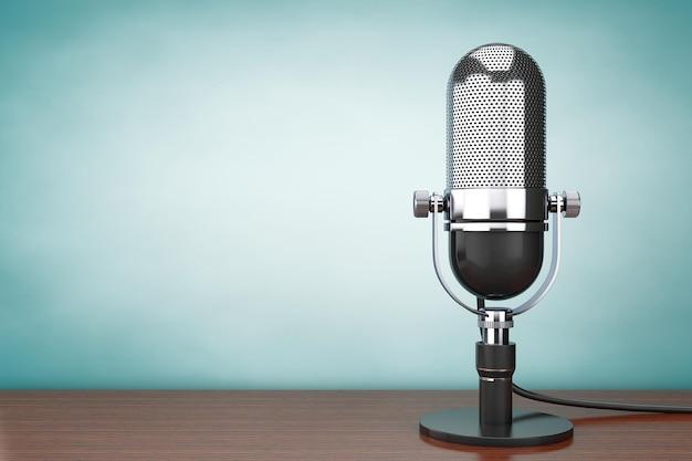 Hoto im alten stil. retro-mikrofon auf dem tisch