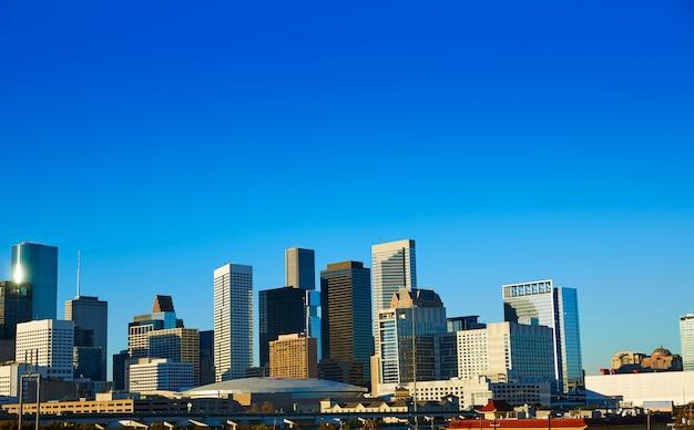 Houston im stadtzentrum gelegene skyline von texas-stadt in us