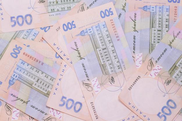 Hryvnia uah ukrainische banknoten. 500 ukrainische staatsfinanzen hintergrund.