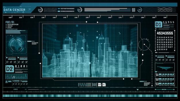 Hud futuristischer holografischer scan smart city
