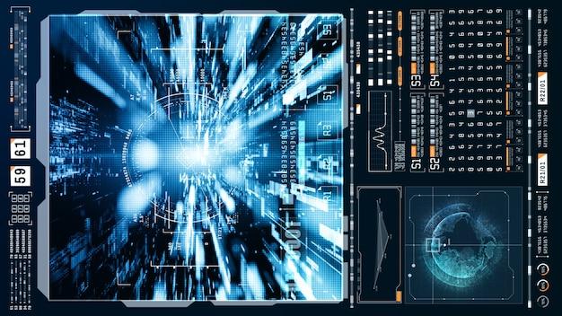 Hud futuristischer holografischer scan und fliegen