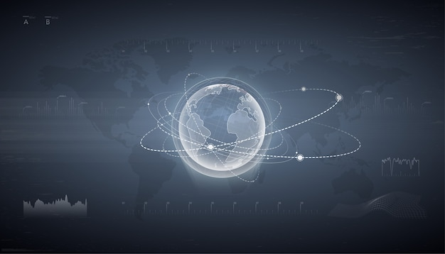 Hud-schnittstelle mit hologramm der erde mit satelliten herum. überwachung von erdeinwirkungen. technologische digitale globuswelt. das navigationssystem. kontrollzentrum armaturenbrett. hologramm der erdkugel.