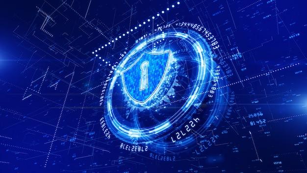 Hud und schild-symbol des cybersicherheitshintergrundes