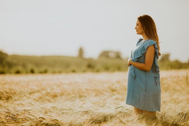 Hübsche junge schwangere frau im blauen kleid, das draußen in der natur am sommertag entspannt