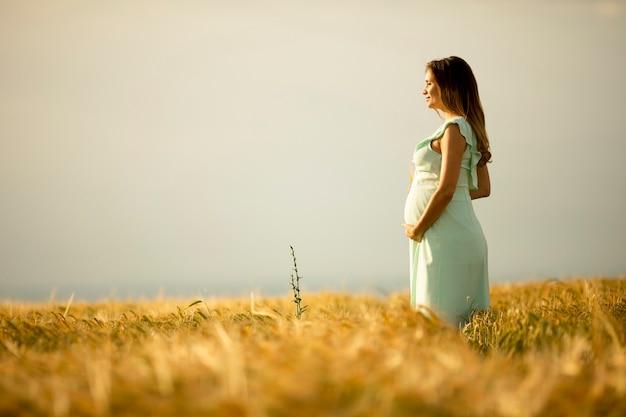 Hübsche junge schwangere frau im weißen kleid, das draußen in der natur am sommertag entspannt