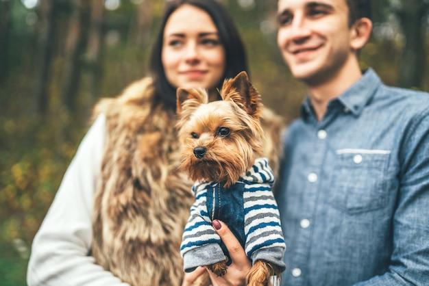 Hübsche paare mit dem kleinen yorkshire-terrier, der in den wald geht.