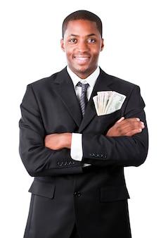 Hübscher geschäftsmann mit dollar in einer tasche