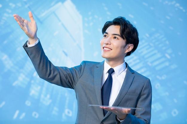 Hübscher junger asiatischer mann im anzug