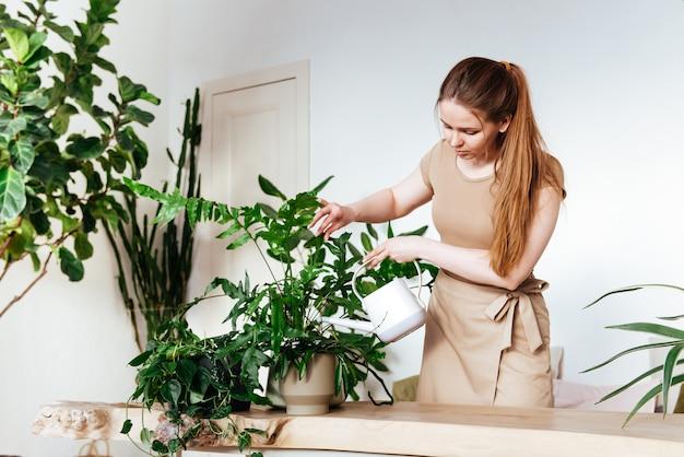 Hübscher mädchenflorist mit schürze, die ihre zimmerpflanzen gießt. pflege von pflanzen zu hause