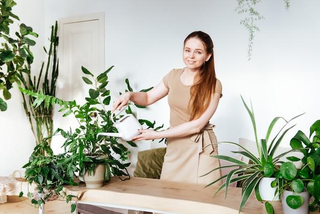 Hübscher weiblicher florist mit schürze, die ihre zimmerpflanzen gießt