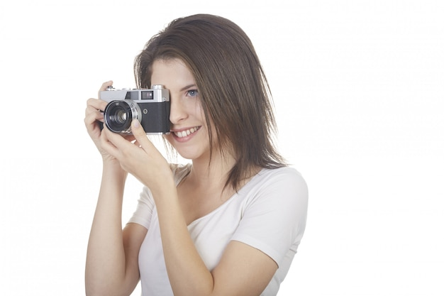 Hübscher weiblicher fotograf