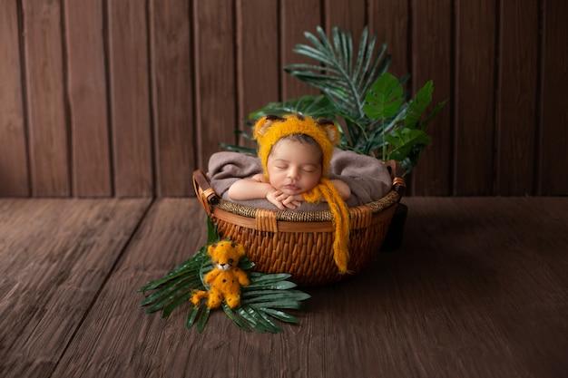 Hübsches und sympathisches neugeborenes baby, das im gelben tierförmigen hut und im braunen korb ruht, umgeben von grünen pflanzen im hölzernen raum