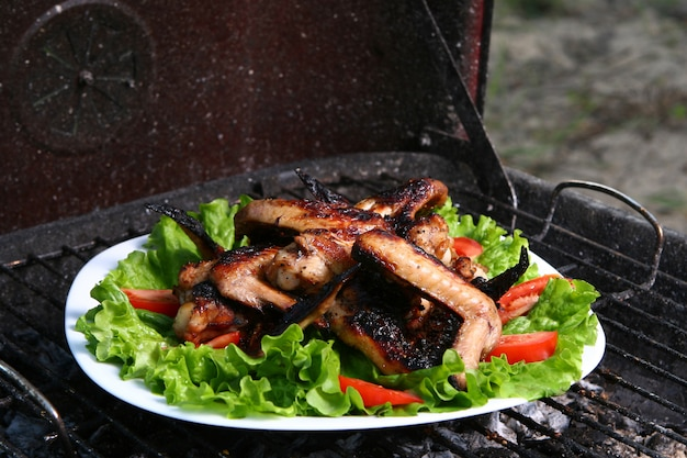 Hühnerbeine auf dem grill mit gemüse