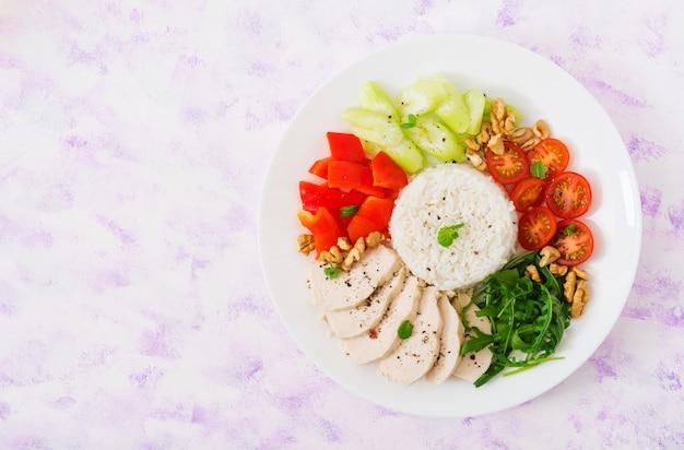 Hühnerbrust mit reis und gemüse