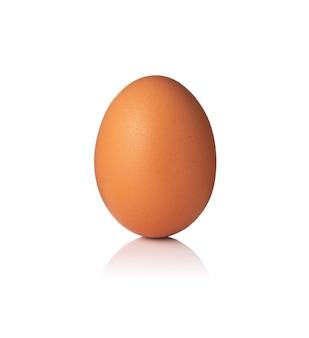 Hühnerei isoliert auf weißer oberfläche nah oben