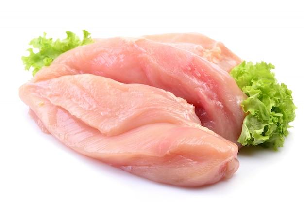 Hühnerfleisch auf einem weißen isoliert