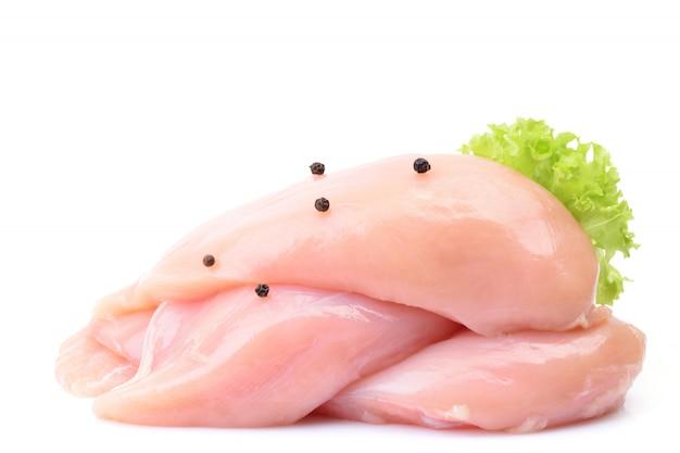 Hühnerfleisch auf einem weißen