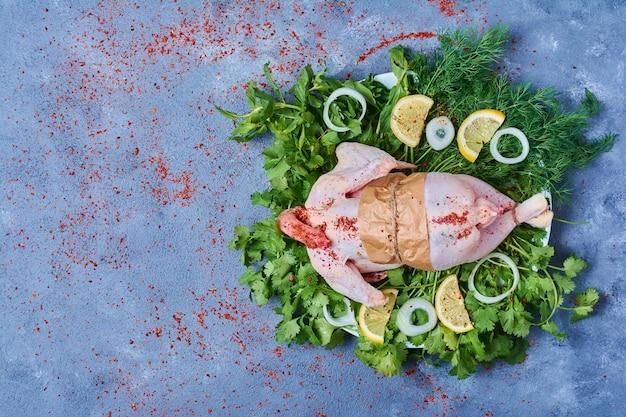Hühnerfleisch mit kräutern und gewürzen.