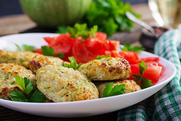 Hühnerschnitzel mit zucchini-tomaten-salat
