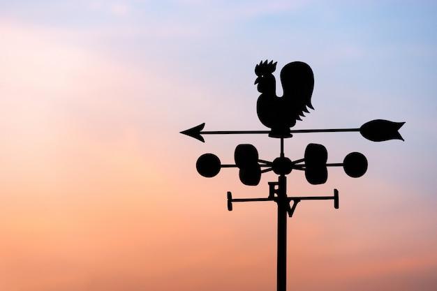 Hühnerwindfahne mit kompass und himmel