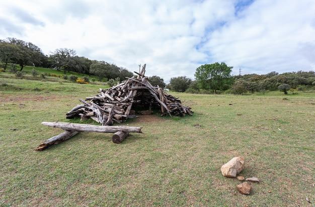 Hütte aus stöcken und baumstämmen auf der wiese