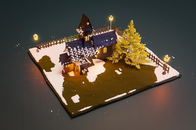 Hütte und schneebedeckter baum, winterwald bedeckt, 3d-darstellung
