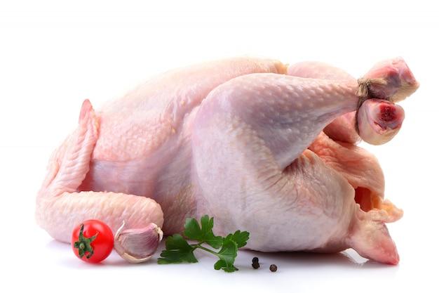 Huhn auf einem weißen