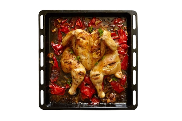 Huhn mit roter pfeffer-harissa-soße, backblech isoliert