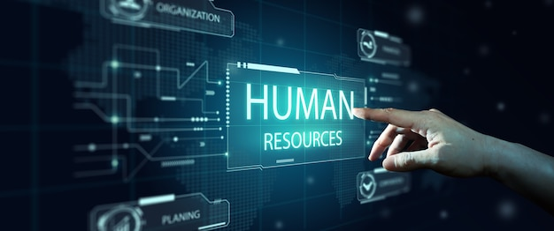 Human resources hr management recruiting headhunting human social network leadership concept