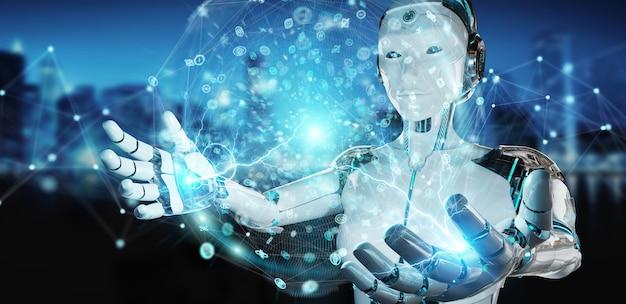 Humanoid der weißen frau, der digitale wiedergabe des globalen netzwerks 3d verwendet