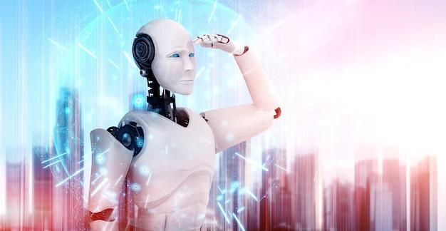Humanoid des 3d-illustrationsroboters, der vorwärts gegen die skyline des stadtbildes schaut
