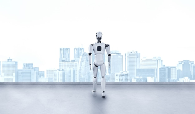 Humanoid des 3d-illustrationsroboters, der vorwärts gegen stadtbild-skyline schaut