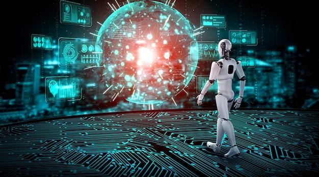 Humanoid des 3d-rendering-roboters, der big data mithilfe von ki-denken analysiert