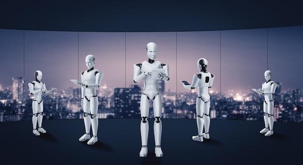 Humanoid des 3d-renderingroboters, der im zukünftigen büroinnenraum arbeitet