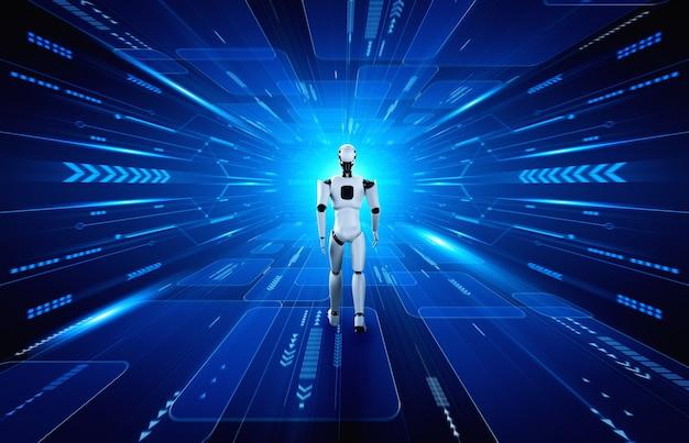 Humanoid des 3d-renderingroboters in der science-fiction-fantasiewelt