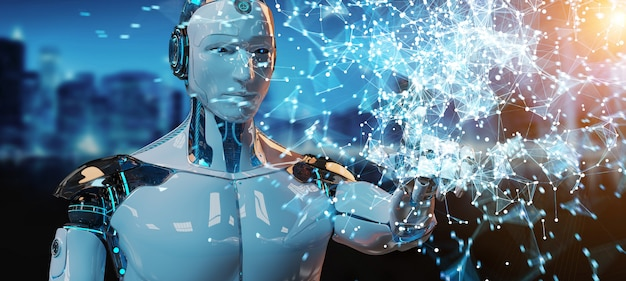 Humanoid des weißen mannes, der digitale wiedergabe der kugel hud schnittstelle 3d verwendet
