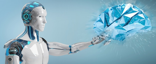 Humanoid des weißen mannes, der wiedergabe der künstlichen intelligenz 3d schafft