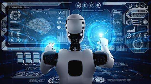 Humanoider ki-roboter, der den virtuellen hologramm-bildschirm berührt, der das konzept des ki-gehirns zeigt