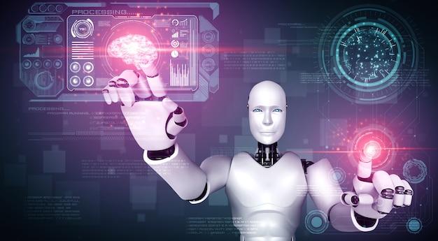 Humanoider ki-roboter, der den virtuellen hologramm-bildschirm berührt, der das konzept von big data zeigt