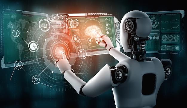Humanoider ki-roboter, der den virtuellen hologrammbildschirm berührt, der das konzept des ki-gehirns zeigt
