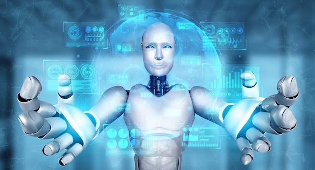 Humanoider ki-roboter, der einen virtuellen hologramm-bildschirm hält, der das konzept von big data zeigt