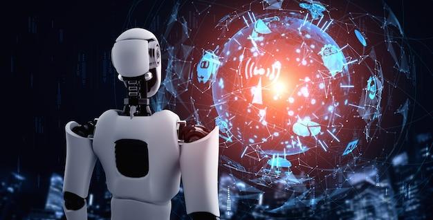 Humanoider ki-roboter, der hologrammbildschirm betrachtet, der konzept der kommunikation zeigt