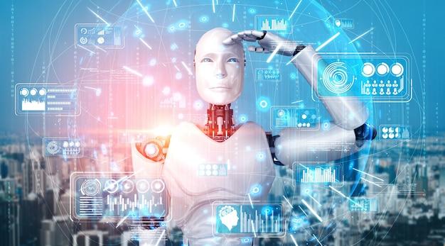 Humanoider ki-roboter, der hologrammbildschirm betrachtet, der konzept von big data zeigt