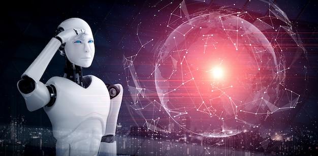 Humanoider ki-roboter, der hologrammbildschirm betrachtet, der konzept zeigt