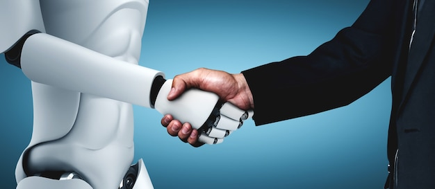 Humanoider roboter, der einem mann die hand schüttelt