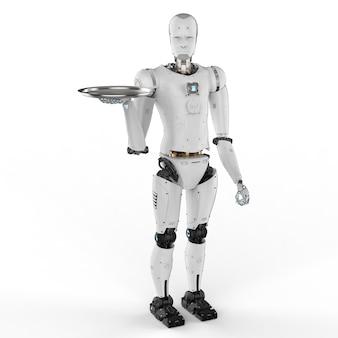 Humanoider roboter der wiedergabe 3d, der serviertablett hält