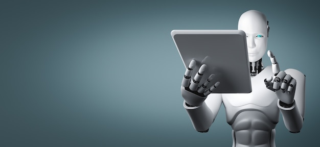 Humanoider roboter mit tablet-computer im zukünftigen büro