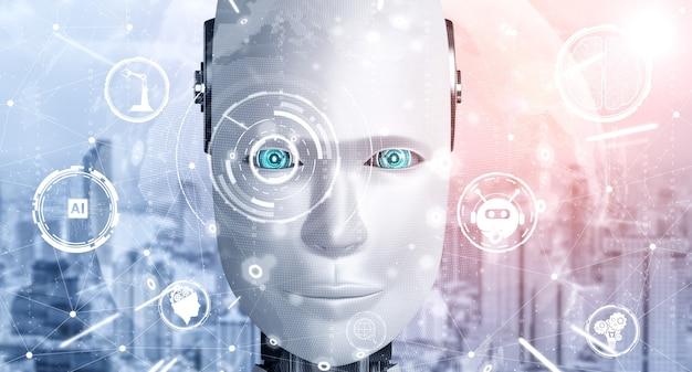Humanoides gesicht des roboters nah oben mit grafischem konzept des denkenden gehirns der ki