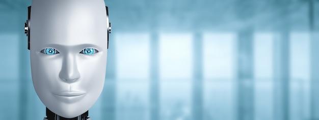 Humanoides gesicht und augen des roboters mit kopierraum